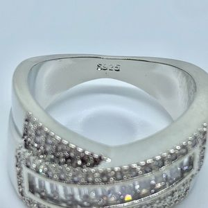 Jewelry - Wide Band Baguette and Round Diamond Silver Ring